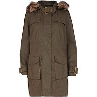 Khaki waxed faux fur trim parka jacket