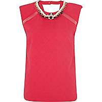 Pink jacquard necklace shell top