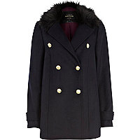 Navy faux fur collar double breasted coat