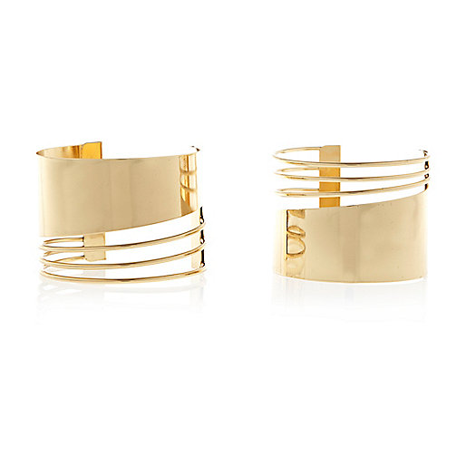 Gold tone spiral cut out cuff bracelet pack