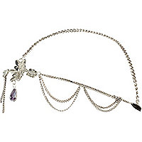 Silver tone flower diamante hair chain crown