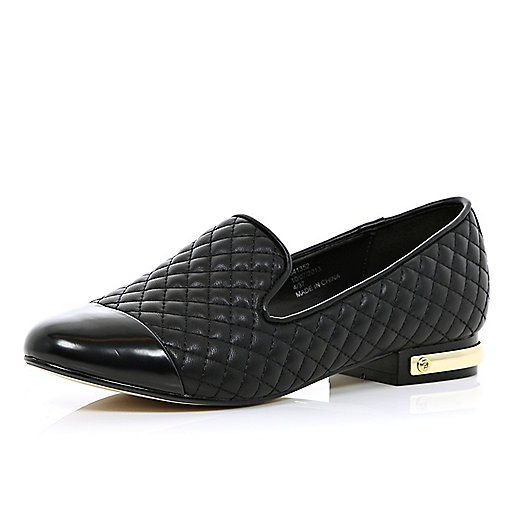 Black quilted toe cap slipper shoes