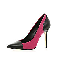 Pink contrast toe cap pointed court shoes