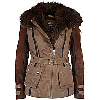 Brown leather and suede biker jacket