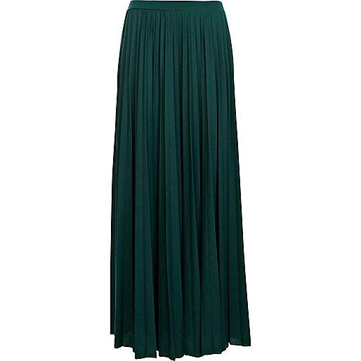 Dark green pleated maxi skirt