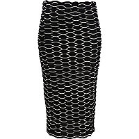 Black and white 3D textured pencil skirt