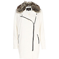 White faux fur collar biker coat