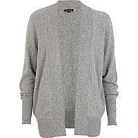 Grey unfastened dolman cardigan