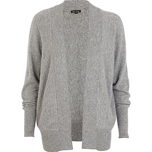 Grey unfastened dolman cardigan
