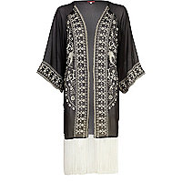 Black embroidered fringed kimono