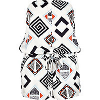 White geometric print bandeau playsuit