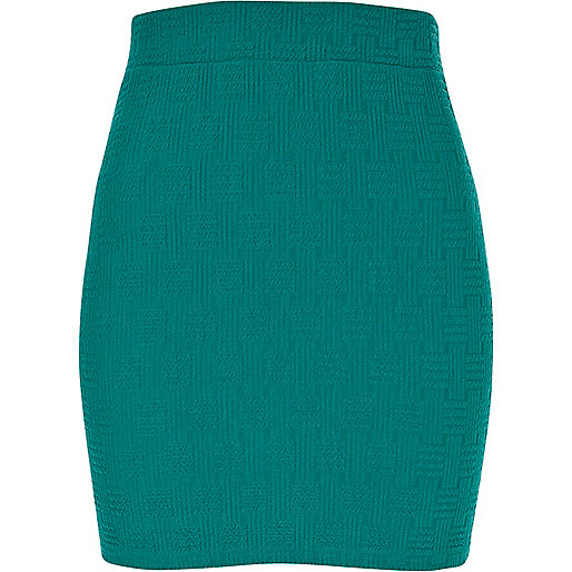 Green basket weave textured mini skirt