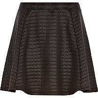 Black high shine quilted skater skirt