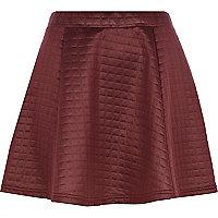 Dark red high shine quilted skater skirt