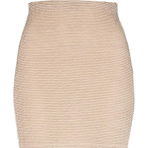 Light pink shirred textured mini skirt