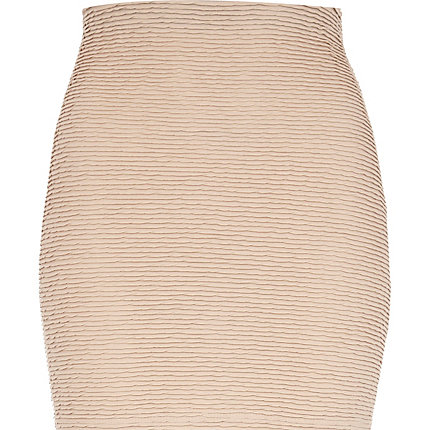 Light pink shirred textured mini skirt