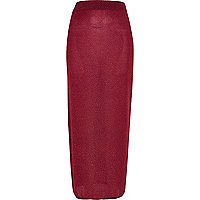Red sparkle maxi tube skirt