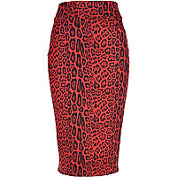 Red animal print scuba pencil skirt