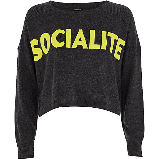 Grey socialite cropped jumper