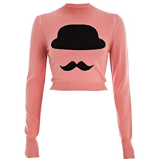 Pink bowler hat turtle neck cropped jumper