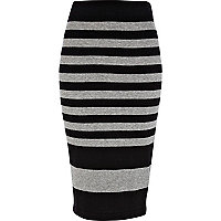 Grey and black stripe knitted tube skirt