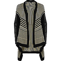 Black stripe waterfall cardigan