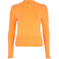 Orange high neck rib top