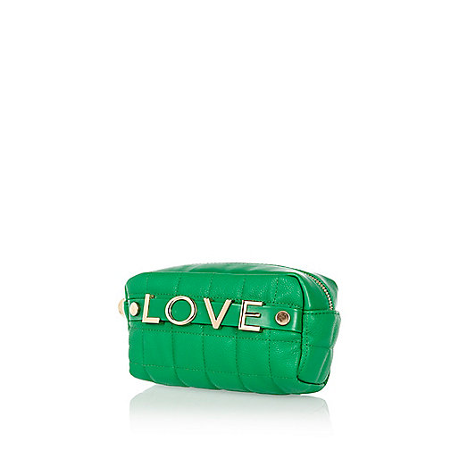 Green quilted love make up bag