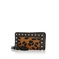 Brown leopard print pony hair insert purse