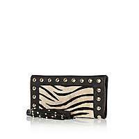 Cream zebra print pony hair insert purse
