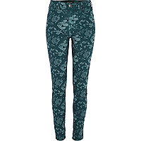 Green floral Lana superskinny jeans