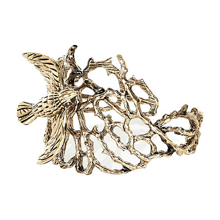 Gold tone twig and bird cuff bracelet