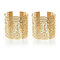 Gold tone filigree cut out cuff pack
