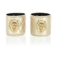 Gold tone quilted lion head cuffs pack