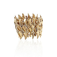 Gold tone twisted leaf stretch bracelet