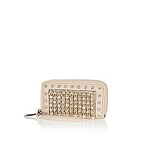 Cream embellished zip around purse