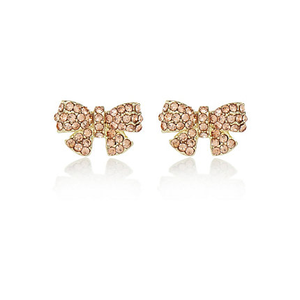 Pink diamante bow stud earrings