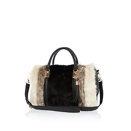 Black faux fur stripe bowler bag