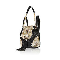 Black studded chain strap rucksack