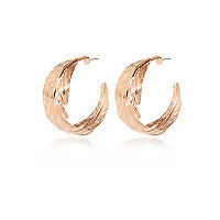 Rose gold tone leaf hoop earrings