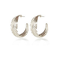 Silver tone leaf hoop earrings