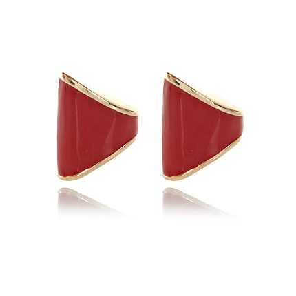Red chunky stud earrings