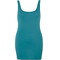 Dark turquoise scoop neck longline vest
