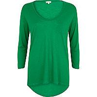 Green low scoop neck t-shirt