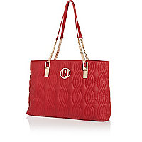 Red quilted chain strap tote bag