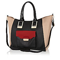 Black colourblock pocket tote bag