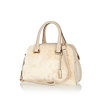 Cream faux fur bowler bag