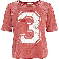 Red 3 print short sleeve sweatshirt