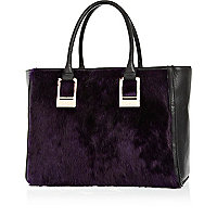 Purple faux fur panel oversized tote bag