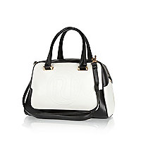 Black and white RI embossed bowler bag